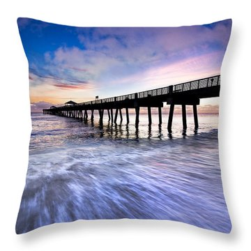 Dawn At The Juno Beach Pier Throw Pillow by Debra and Dave Vanderlaan