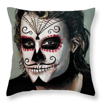Day Of The Dead - Heath Ledger Throw Pillow by Tom Carlton