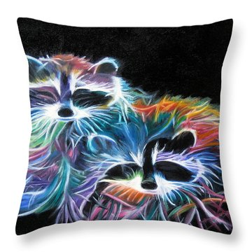 Dayglow Raccoons Throw Pillow by LaVonne Hand