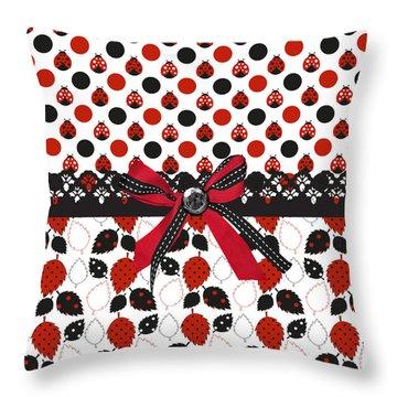 Dazzling Ladybugs  Throw Pillow by Debra  Miller