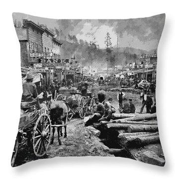 Deadwood South Dakota C. 1876 Throw Pillow by Daniel Hagerman