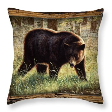 Deco Black Bear Throw Pillow by JQ Licensing