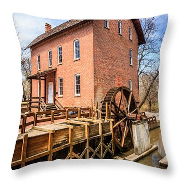 Deep River Grist Mill In Northwest Indiana Throw Pillow by Paul Velgos