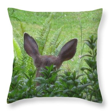 Deer Ear In A Mint Patch Throw Pillow by Kym Backland