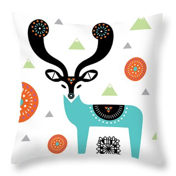 Deery Mountain Throw Pillow by Susan Claire