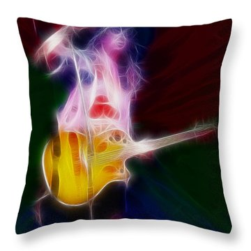 Deff Leppard-adrenalize-joe-gf25-fractal Throw Pillow by Gary Gingrich Galleries