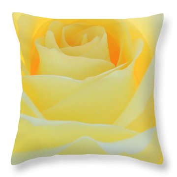 Delicate Yellow Rose Throw Pillow by Sabrina L Ryan