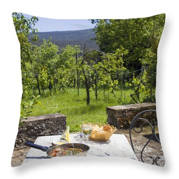 Delicious Italian Lunch In Garden Throw Pillow by Patricia Hofmeester