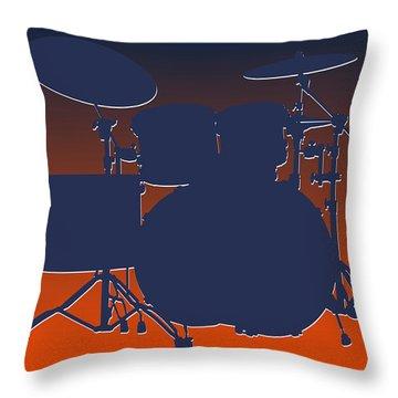 Denver Broncos Drum Set Throw Pillow by Joe Hamilton