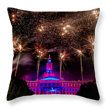 Denver Colorado Independence Eve Fireworks Throw Pillow by Teri Virbickis