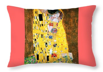 Der Kuss Or The Kiss By Gustav Klimt Throw Pillow by Pg Reproductions