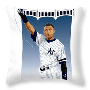 Derek Jeter 3000 Hits Throw Pillow by Scott Weigner