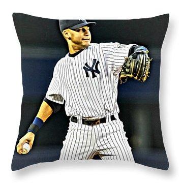 Derek Jeter Throw Pillow by Florian Rodarte