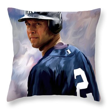 Derek Jeter  Throw Pillow by Iconic Images Art Gallery David Pucciarelli