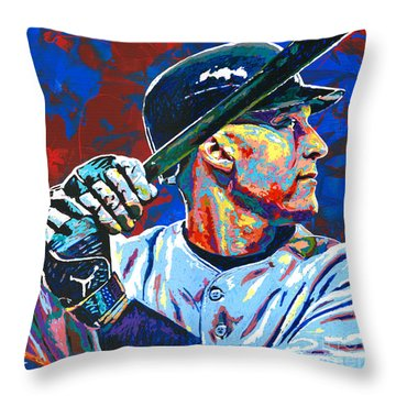 Derek Jeter Throw Pillow by Maria Arango
