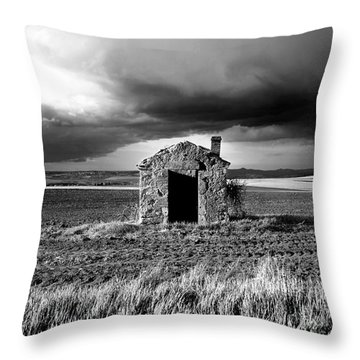 Derelict Stone Shed In  Auvergne. France Throw Pillow by Bernard Jaubert