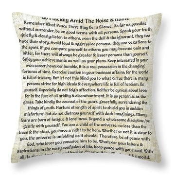 Desiderta Poem On Tuscan Marble Throw Pillow by Desiderata Gallery