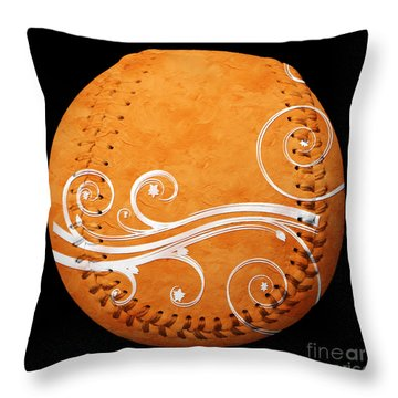 Designer Orange Baseball Square Throw Pillow by Andee Design