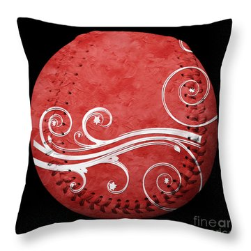 Designer Red Baseball Square Throw Pillow by Andee Design