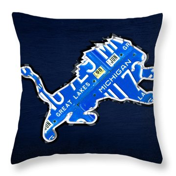 Detroit Lions Football Team Retro Logo License Plate Art Throw Pillow by Design Turnpike