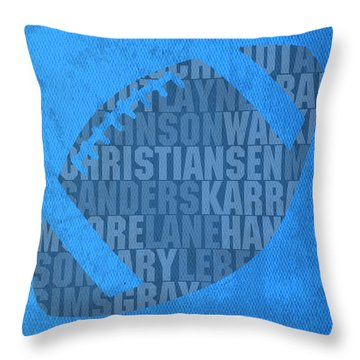 Detroit Lions Football Team Typography Famous Player Names On Canvas Throw Pillow by Design Turnpike