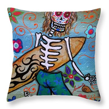Dia De Los Muertos Surfer Throw Pillow by Pristine Cartera Turkus