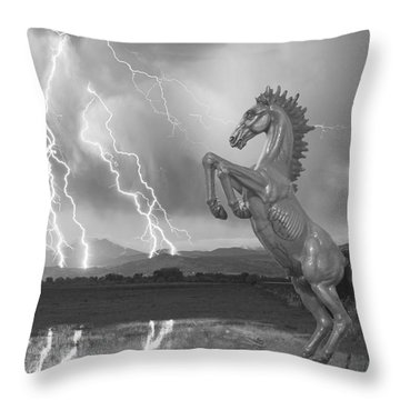 Dia Mustang Bronco Lightning Storm Bw Throw Pillow by James BO  Insogna