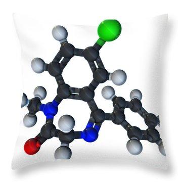 Diazepam Molecular Model Throw Pillow by Evan Oto