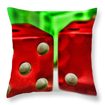 Dice - Lucky Seven Throw Pillow by Paul Ward