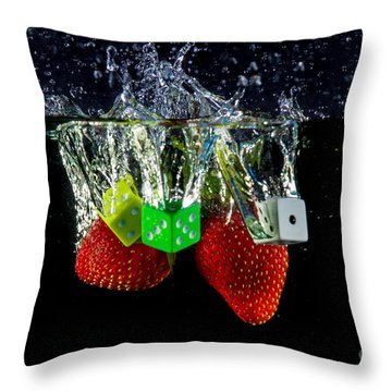 Dice Splash Throw Pillow by Rene Triay Photography
