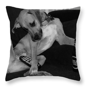 Diesel In Black And White Throw Pillow by Rob Hans