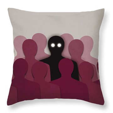 Different And Alone In Crowd Throw Pillow by Boriana Giormova