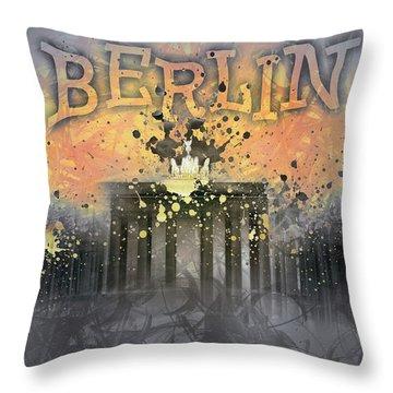 Digital-art Brandenburg Gate I Throw Pillow by Melanie Viola