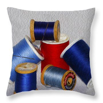 Digital Paint Thread Throw Pillow by Camille Lopez