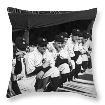 Dimaggio In Yankee Dugout Throw Pillow by Underwood Archives
