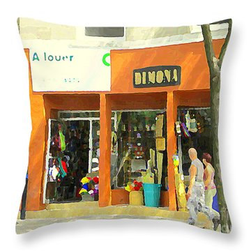 Dimona Latin Quarter Romantic Morning Summer Stroll Pretty Streets Montreal City Scene C Spandau Throw Pillow by Carole Spandau