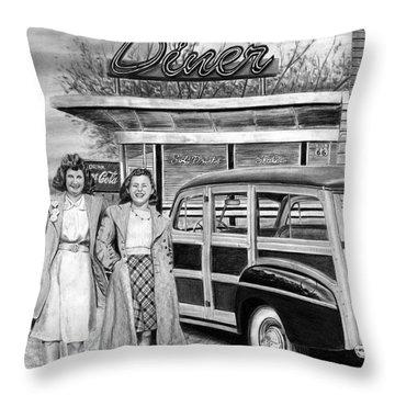 Dinner With The Girls Throw Pillow by Peter Piatt