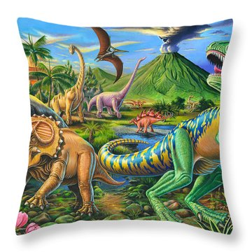 Dinosaur Scene Throw Pillow by Mark Gregory