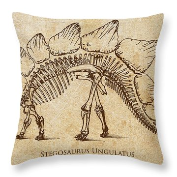 Dinosaur Stegosaurus Ungulatus Throw Pillow by Aged Pixel