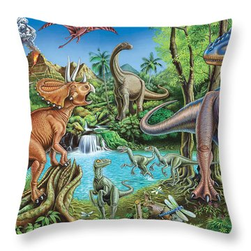 Dinosaur Waterfall Throw Pillow by Mark Gregory