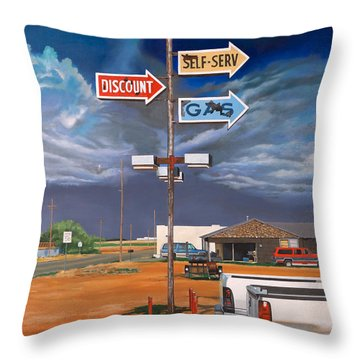 Discount Self-serv Gas Throw Pillow by Karl Melton