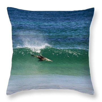 Diving Beneath The Curl Throw Pillow by Mike Dawson