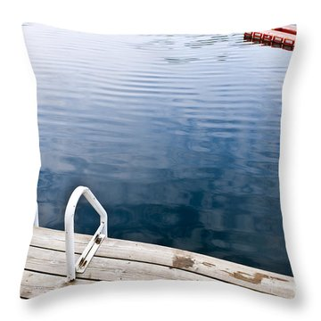 Dock On Calm Summer Lake Throw Pillow by Elena Elisseeva