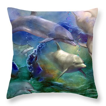 Dolphin Dream Throw Pillow by Carol Cavalaris