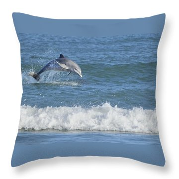 Dolphin In Surf Throw Pillow by Bradford Martin