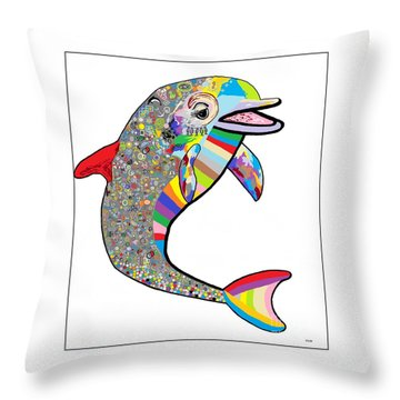 Dolphin - The Devil's In The Details Throw Pillow by Eloise Schneider