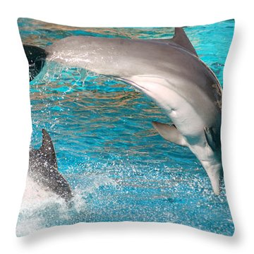 Dolphins Show Throw Pillow by Michal Bednarek