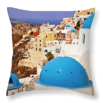 Domes Of Santorini Throw Pillow by Brian Jannsen