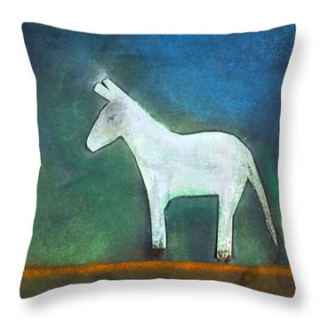 Donkey, 2011 Oil On Canvas Throw Pillow by Roya Salari