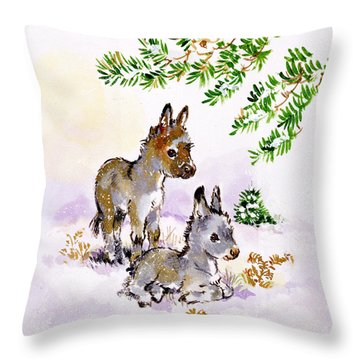 Donkeys Throw Pillow by Diane Matthes